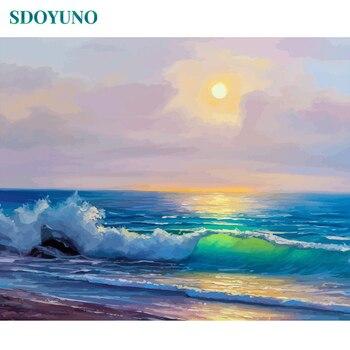 SDOYUNO 60x75 سنتيمتر الطلاء بواسطة أرقام المناظر البحرية الرسم بواسطة أرقام ديكور المنزل فرملس الرقمية الطلاء على قماش