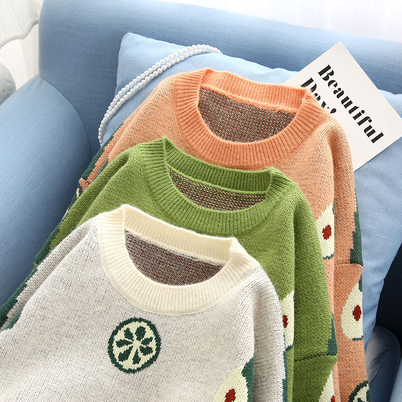 cute women sweater and pullovers o-neck flare sleeved loose green female girl pulls outwear coat tops