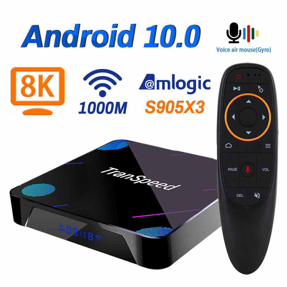 Transpeed X3 Plus Android 10กล่องทีวี4K 8K 4GB 128G Amlogic S905X3 32G 64Gบลูทูธ1000M Wifi 100M Ethernet Voice Assistant