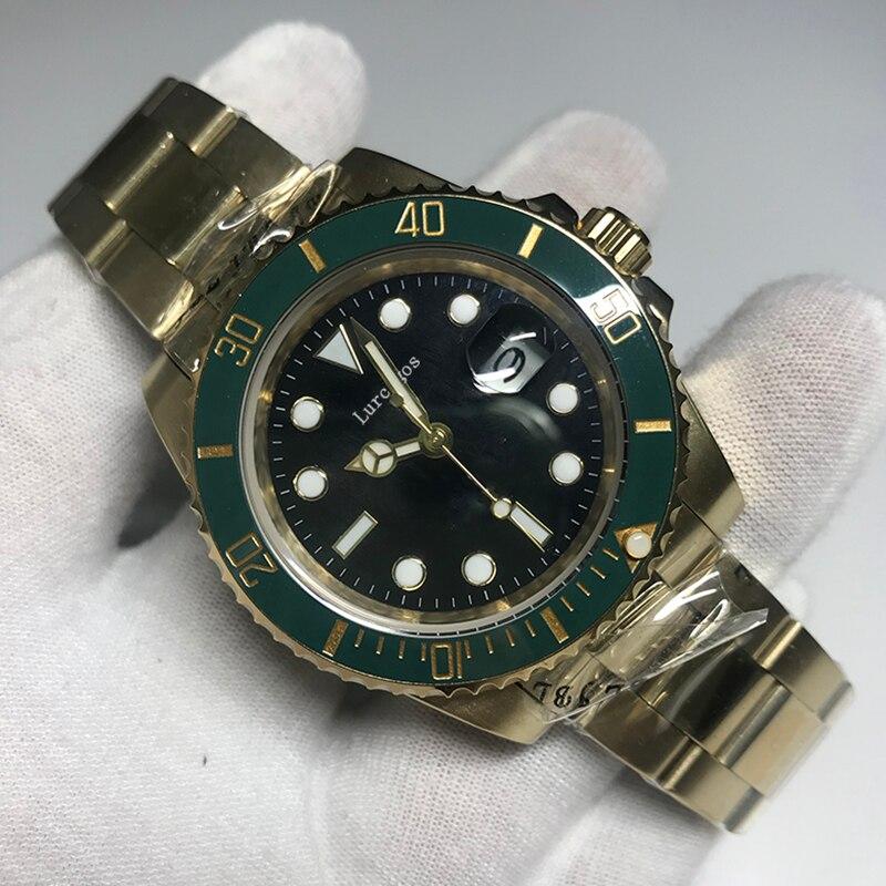 AAA 40MM montre marque de luxe verre saphir Hulk vert anniversaire céramique lunette anneau 18K boîtier en or automatique mécanique pliage