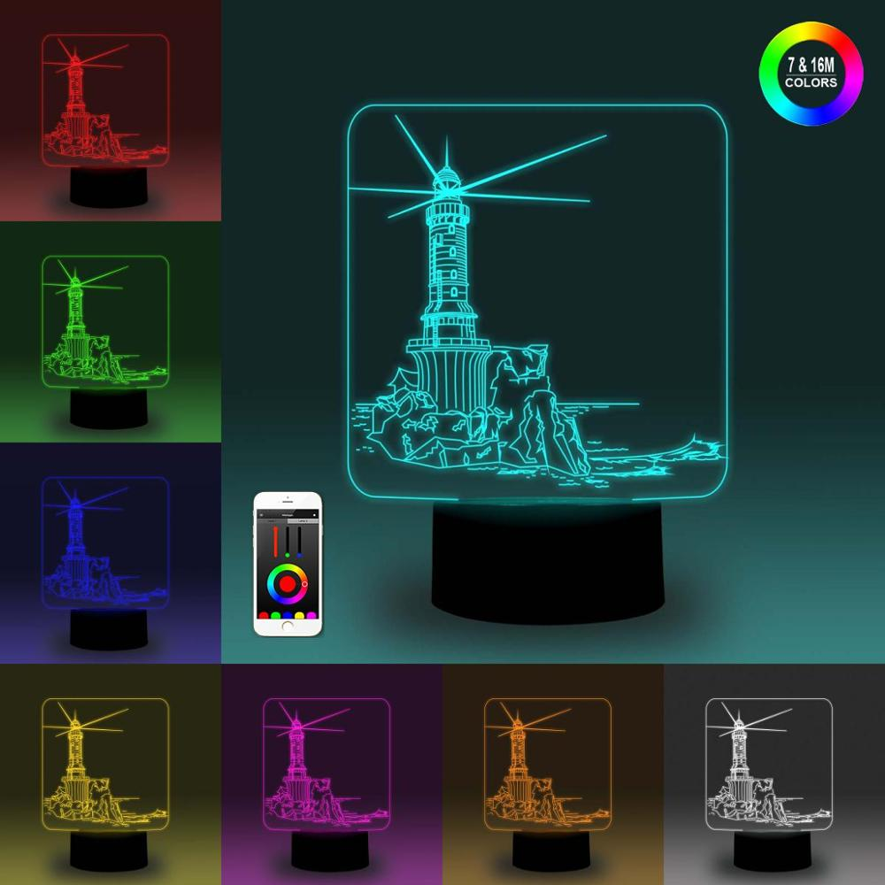 NiteApps 3D Sea Lighthouse Night Light Desk Table Illusion Decoration Lamp Holiday Birthday Gift APP/Touch Control