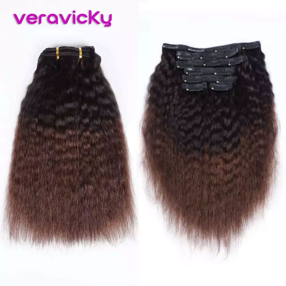 Ombre Color Kinky Straight Clips In Natural Brazilian Human Hair Extensions 120G Machine Remy Hair 7 Piece/Se Head Clip Ins