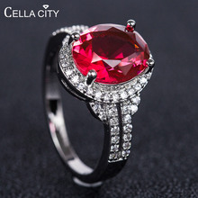 Cellacity Trendy Silver 925 Ring for Women Jewelry with Gemstones Oval shaped Ruby Amethyst Aquamarine Female Engagement Rings