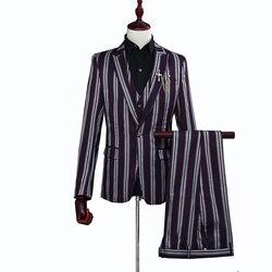 Fashion mens suit 3 sets of slim suits aristocratic multicolor  wide striped formal suit Costume (suit jacket + pants + vest)