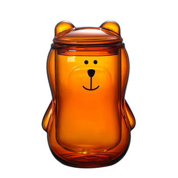 300ml śliczne Panda niedźwiedź szkło z pokrywką woda mleko do kawy dzieci kubek do soku brązowy przezroczysty dwuwarstwowy tanie i dobre opinie tiaking CN (pochodzenie) ROUND