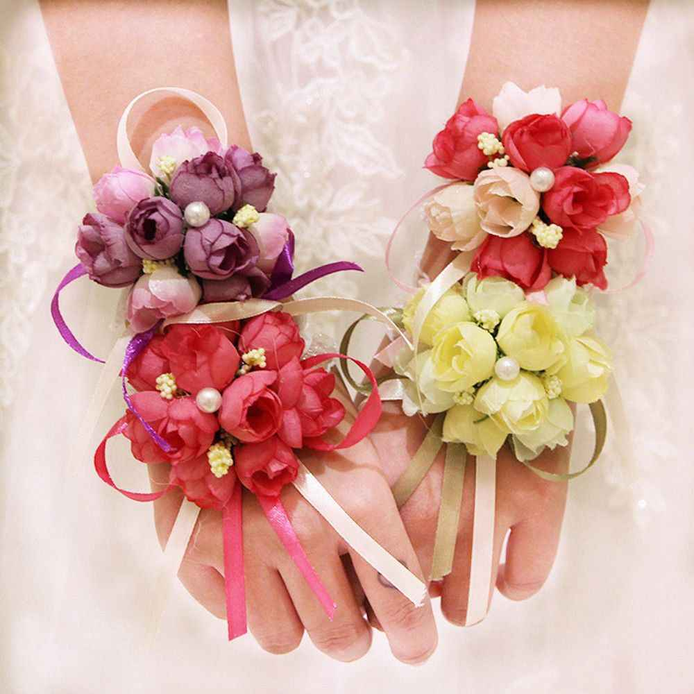 ขายร้อนประดิษฐ์ Rose สร้อยข้อมือ Corsage ข้อมือ Silk Rose ดอกไม้เจ้าสาวมือดอกไม้ริบบิ้นงานแต่งงานอุปกรณ์เสริม