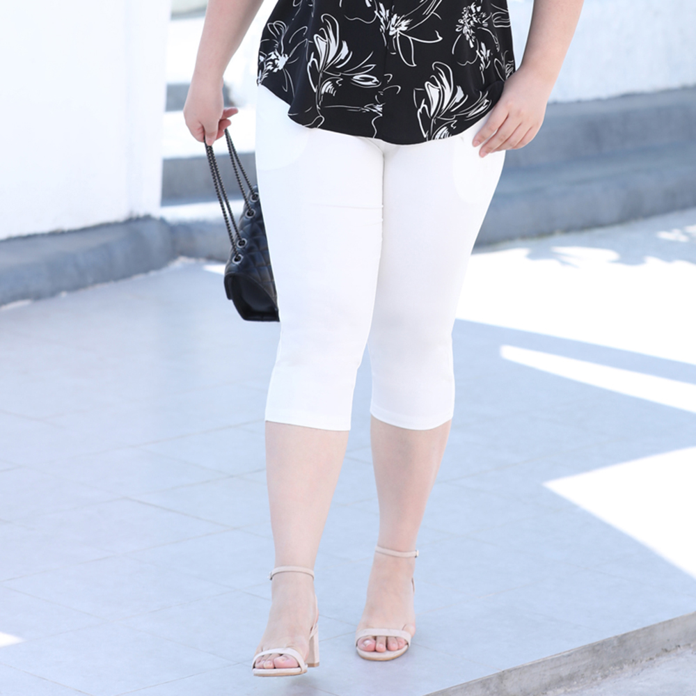 2020 Summer New 3XL to 7XL Plus-sized Stretch Cropped Pants Women Casual Capri White Black Skinny Leggings For Summer