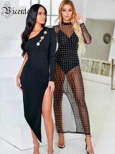 Image 4 - VC 2020 tout livraison gratuite nouveau à la mode asymétrique Sexy une épaule à manches longues bouton conception célébrité fête robe de pansement