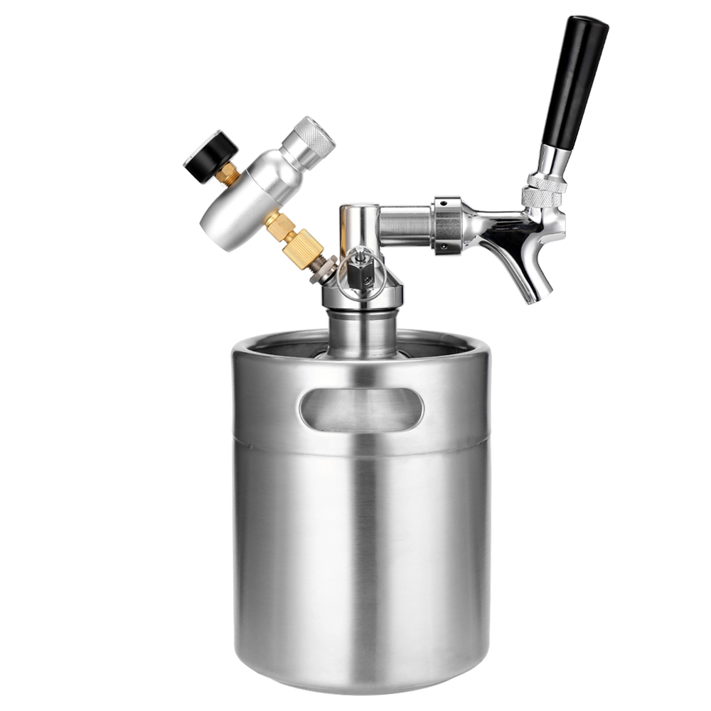 2L Mini Stainless Steel Beer Keg with Tap Pressurized Home Beer Brewing Craft Beer Dispenser Growler System image