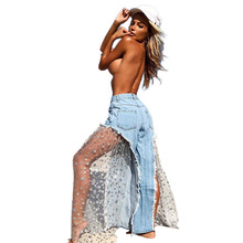 New Lace Jeans Pants Personality Five-pointed Star Mesh Splicing Wide Leg Pants Fringe Stars Perspective Women's Jeans fashion jeans star
