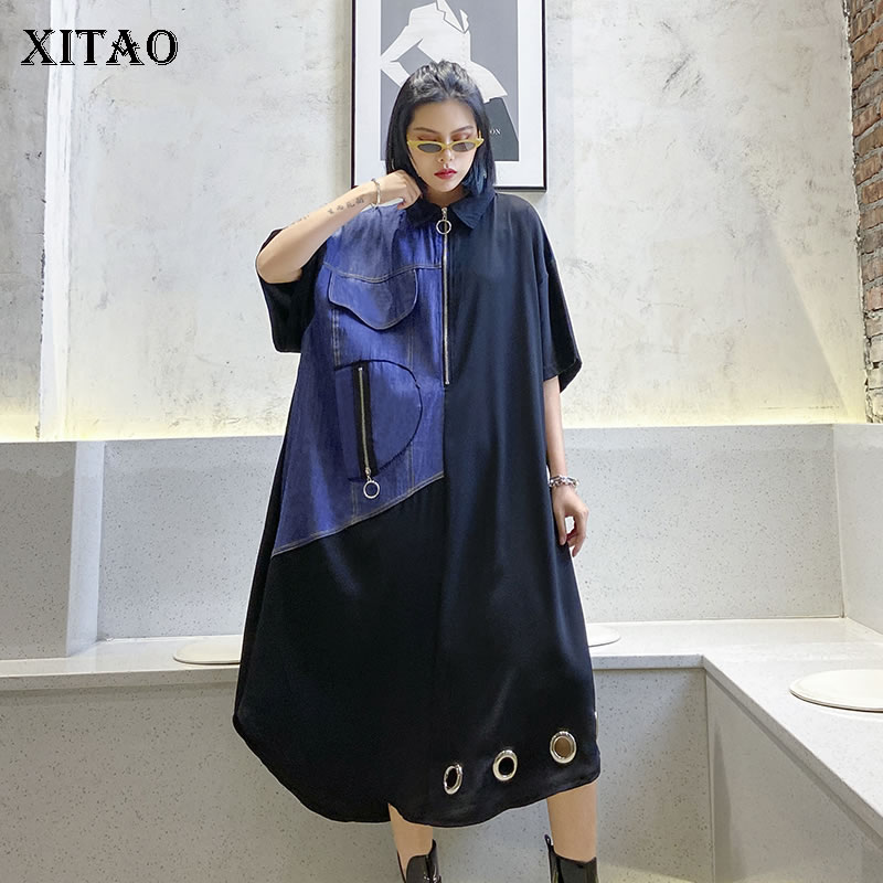 XITAO Europe Loose Plus Size Dress Women Patchwork Stand Collar A Line Casual The Streets 2020 Summer New Women Dress DMY4646(China)