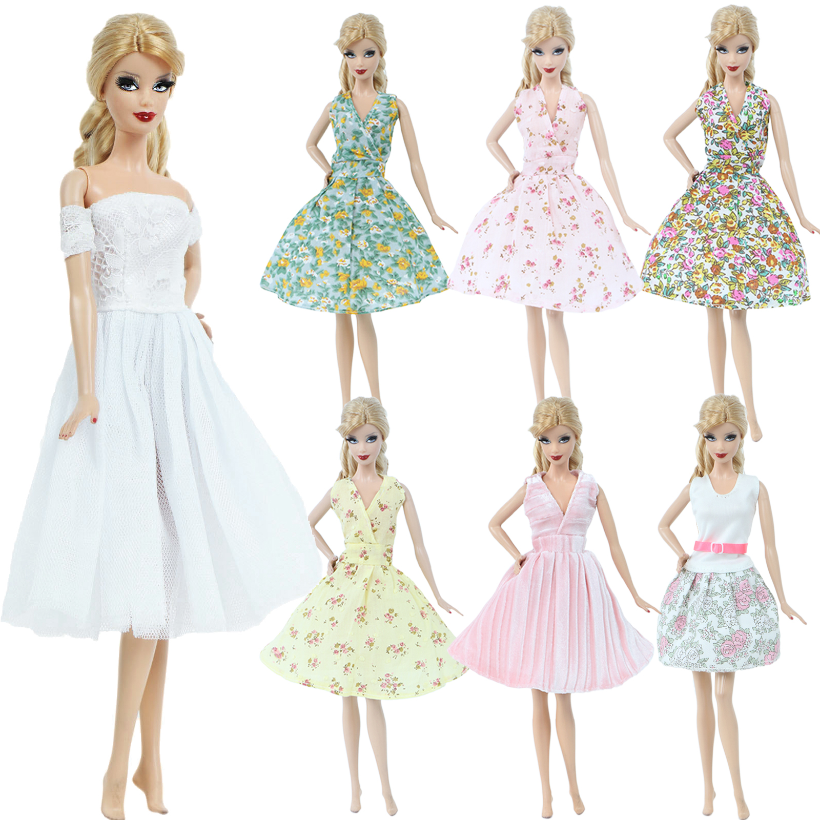 Lot Fashion Pastoral Styles V-neck Mini Dresses Floral Gown Daily Lovely Summer Cool Clothes For Barbie Doll Accessories Toy