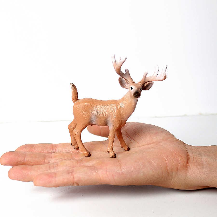 Simulação Da Floresta Veados Figurinhas Alces, Alces, rena, Alpaca, veados Sika Brinquedos Figuras de Ação Modelo Animal Decoração de Coco Do Bolo