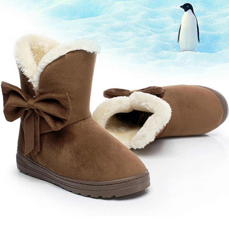 נשים שלג מגפי חורף מגפי פרווה קרסול אתחול נקבה Bowtie חם קטיפה זמש גומי שטוח להחליק על אופנה פלטפורמת גבירותיי נעליים