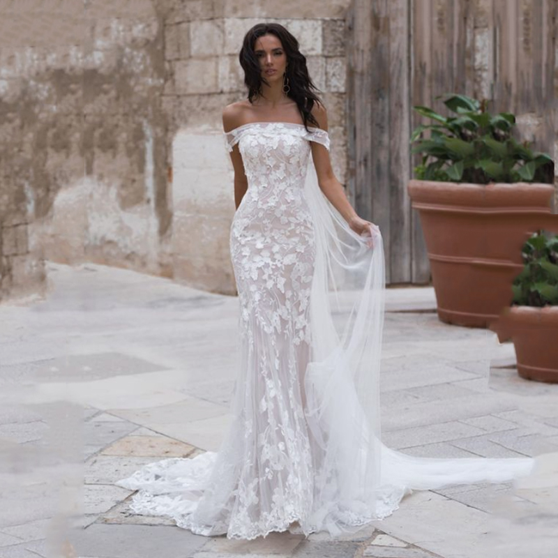 Smileven Mermaid Wedding Dress Off The Shoulder Boho Bride Dresses Appliques Lace   Elegant Vestido De Noiva Wedding Gown