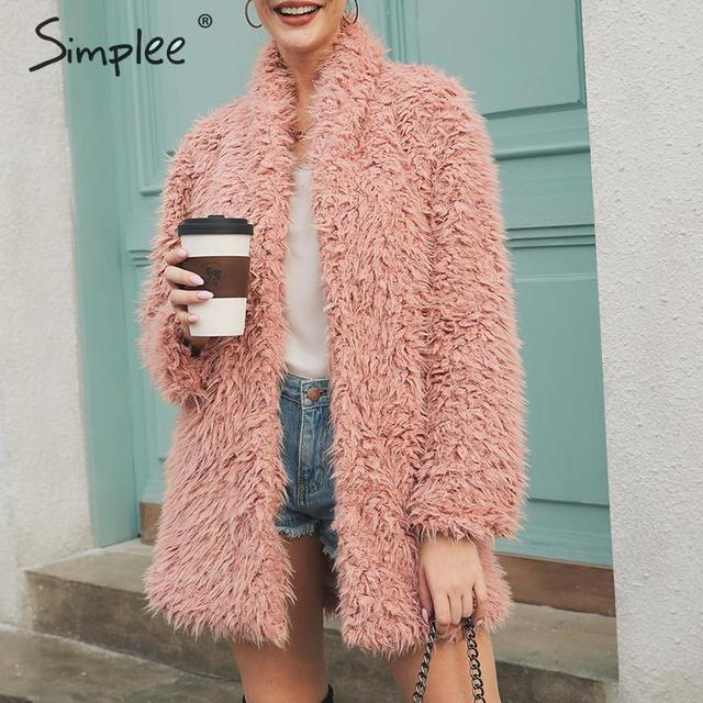 Simplee Elegant women faux fur jacket Casual solid v-neck thick winter coat Plus size lady button autumn warm midi outwear 2019