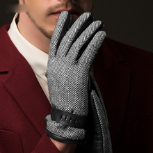Real Leather Gloves Male Wool Cloth + Sheepskin Patchwork British Style Mans For Driving NM780
