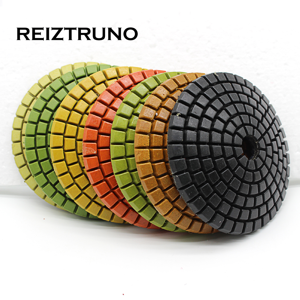 REIZTRUNO 4 Inch 100mm Convex Diamond Abrasive Pad  For Marble,granite,quatrz,Natural Stone  Polishing Pads,wet Use
