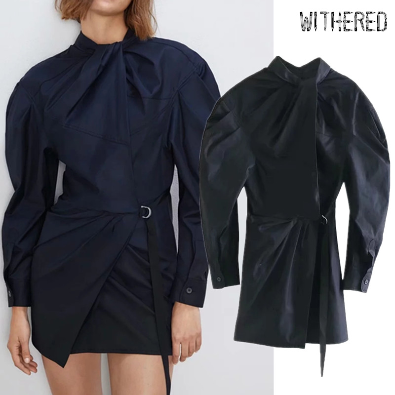 Withered England Vintage Puff Sleeve Sashes Bow Party Mini Dress Women Vestidos De Fiesta De Noche Vestidos Autumn Dress Blazers
