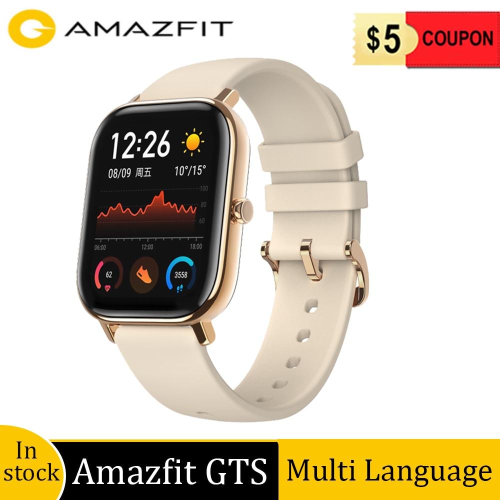 Global Versie Amazfit Gts Smart Horloge 5ATM Waterdichte Zwemmen Sport Horloge 14 Dagen Batterij Muziek Controle Geen Belasting En Gratis schip