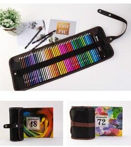 Image 2 - طقم أقلام رصاص ملونة من الخشب 48/72 لونًا طقم أقلام رسم حقيبة أقلام رصاص حقائب لوحة فنية للمدرسة