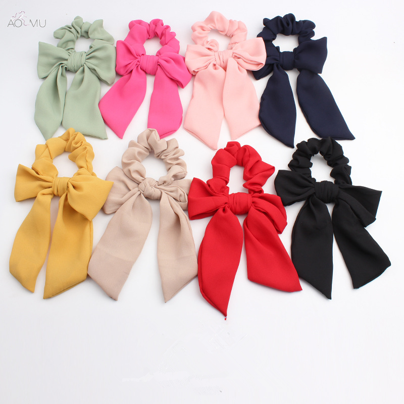 AOMU New Elastic Hair Band Bow Solid Color Hair Ropes Girls Hair Ties Women Hair Accessories Sweet Headband Handwear