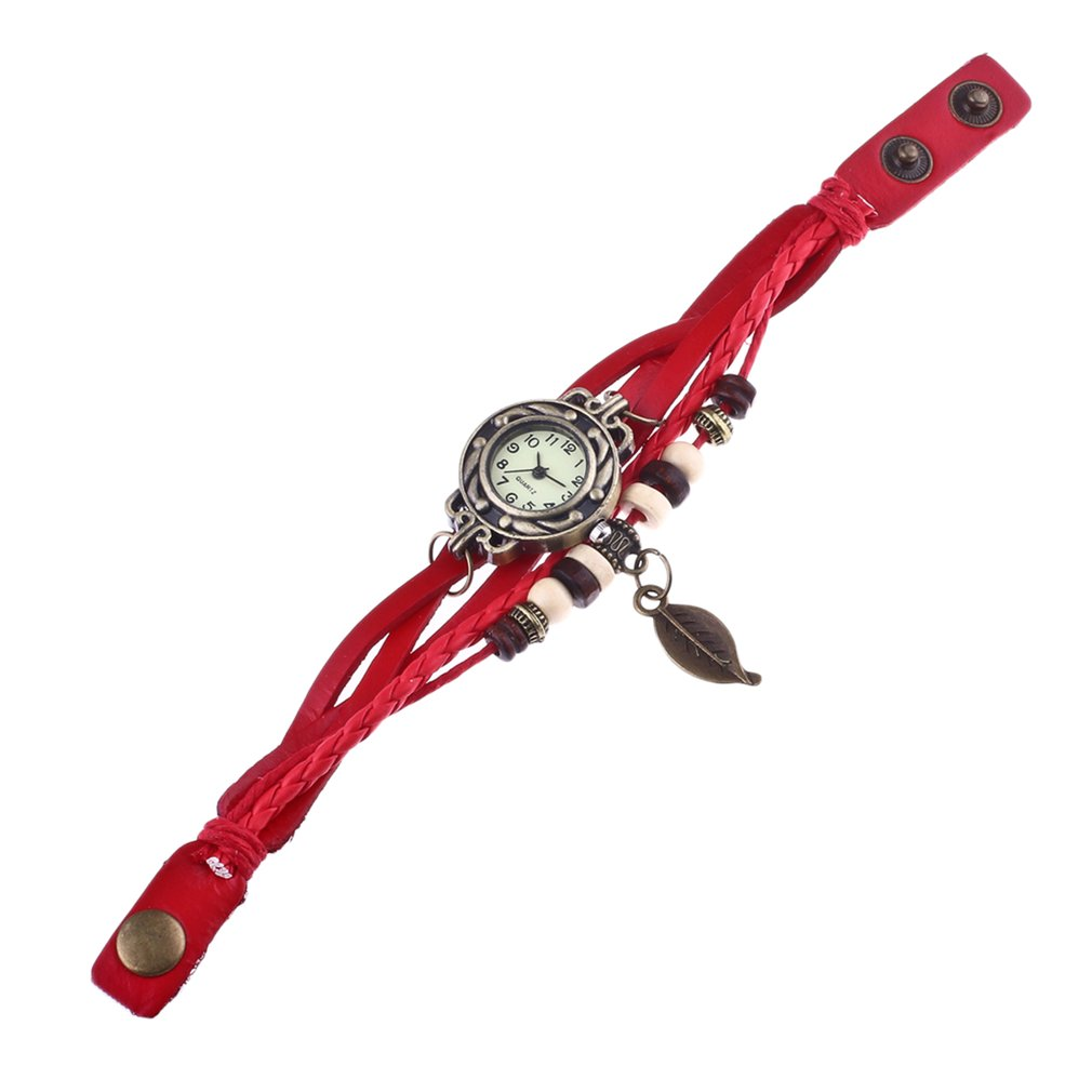 OUTAD 1Pcs Punk Style Leaf Bracelet Leather Watch Quartz Girl Women Wristwatch Fahion Style