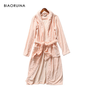 Image 4 - BIAORUINA Women All match Red Coral Fleece Solid Robes Female Casual Warm Sleeping Robes Womens Thick Everyday Robes