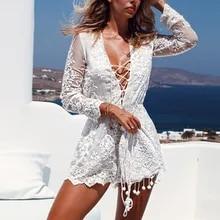 Mini Dress Long-Sleeve V-Neck Lace-Up Vestidos White Sexy Elegant Beach Women Summer