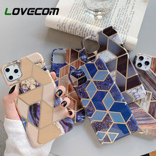 LOVECOM Geometrische Splicing Marmer Telefoon Case Voor iPhone 11 Pro Max XR XS Max 6 6S 7 8 Plus X PC Hard Half-gewikkeld Back Cover(China)
