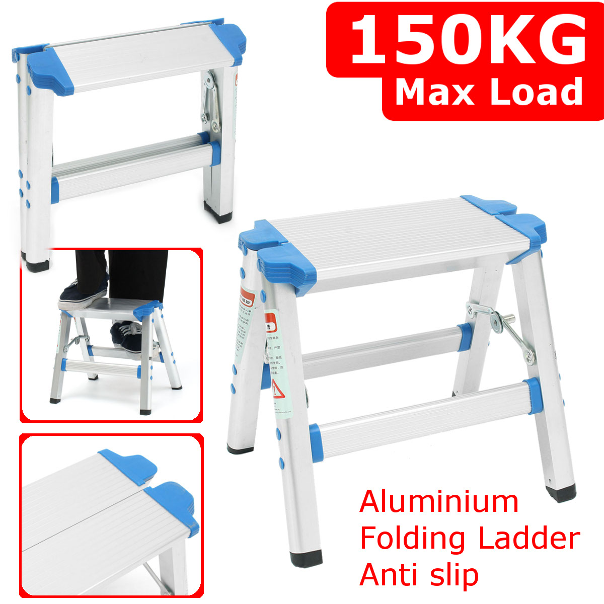 Aluminium Mini Anti Slip Ladder Folding Safety Step Ladder Step Stools Multifunctional 150kg Thick Pedal Construction Tool