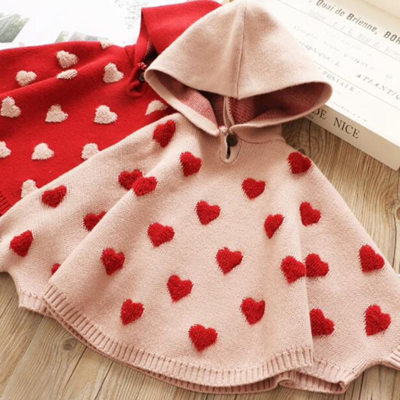 Autumn Children's Knitted Sweater Cute Children Spring Clothes Cloak Baby Girls Sweater Hooded Kids Knitted Pullovers Sweaters