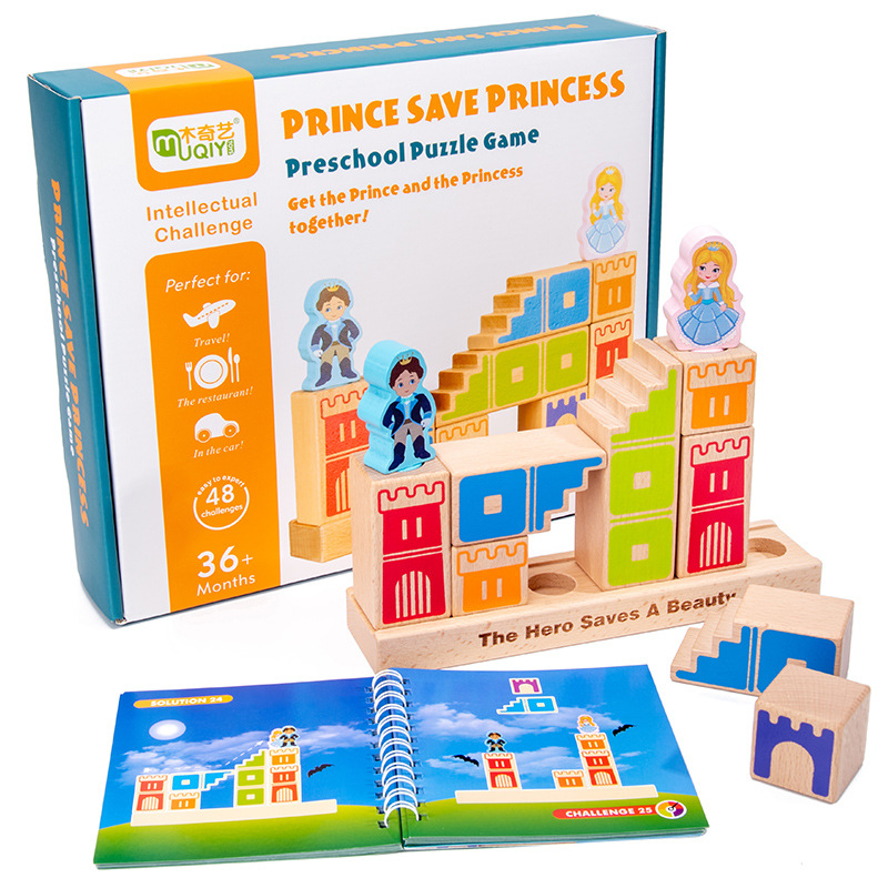 Montessori Wooden Building Blocks Toys Educational Games Prince Save The Princess Interactive Games For Kids 3d Blocks  Gifts