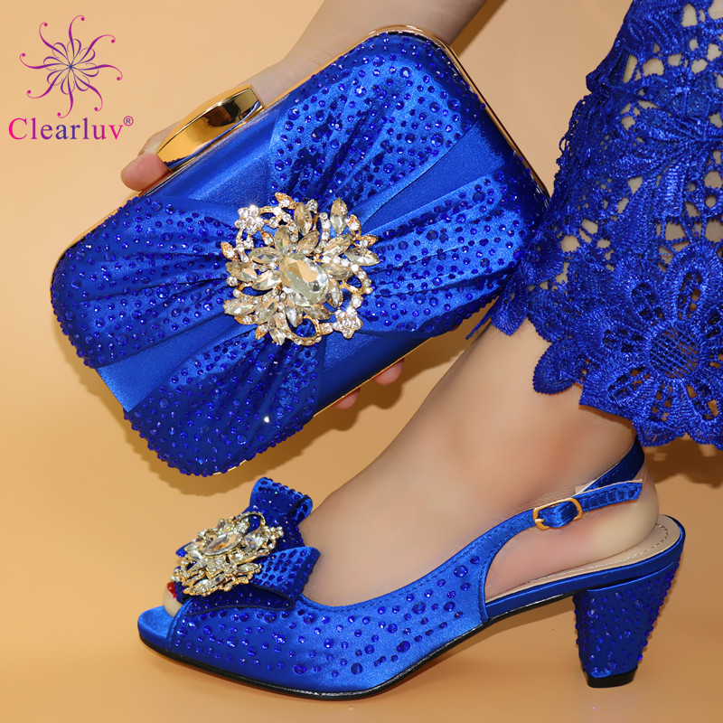 Blue Fashion Shoes And Bag Set New 2019 Women Shoes And Bag Set African Wedding Sandals Italian Shoes With Matching Bags Set