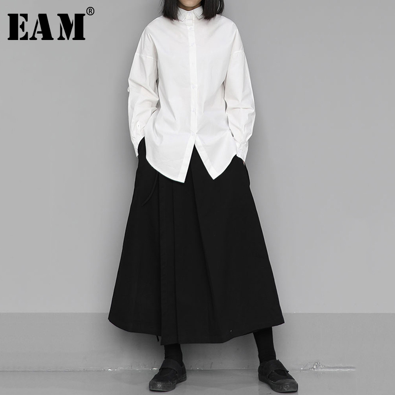 [EAM] Women Black Pleated Temperament Blouse New Lapel Long Sleeve Loose Fit Shirt Fashion Tide Spring Autumn 2020 1S436