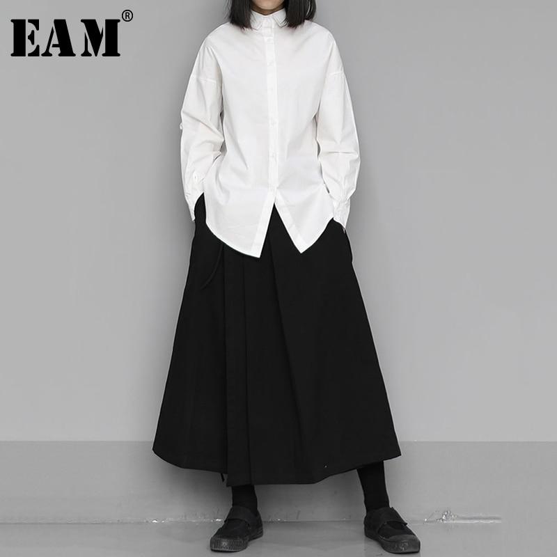 [EAM] Women Black Pleated Temperament Blouse New Lapel Long Sleeve Loose Fit Shirt Fashion Tide Spring Autumn 2020 1S436