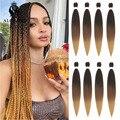 Alororo Омбре предварительно растягивающиеся косички для плетения волос синтетические волосы 30 дюймов афро коричневые черные синие Профессио...