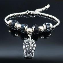 Женский браслет из нержавеющей стали серебряного цвета с черепом