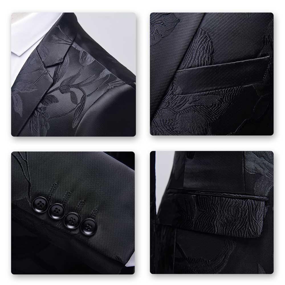 New Men Blazer Wedding & Party Jackets Suit Men's Two Buttons &Black Jacquard &Floral Printed Business Leisure Fashion - 5