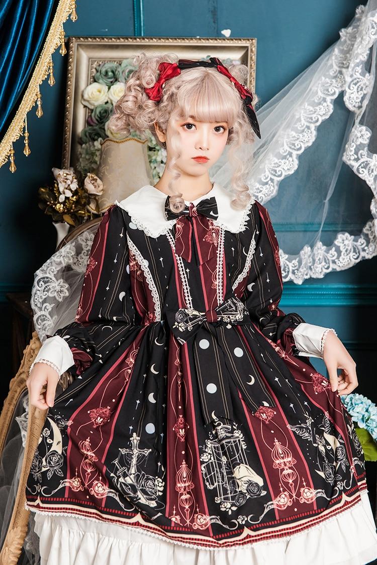 Princess tea party sweet lolita dress retro lace bowknot flare sleeve cute printing victorian set kawaii girl gothic lolita op