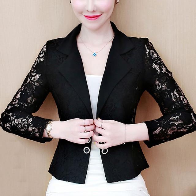 Jacket Women 2021 Long Sleeve V-neck Office Women Jacket 3XL 4XL  Jacket Black White Hollow Lace Jacket Coat Women D105 1