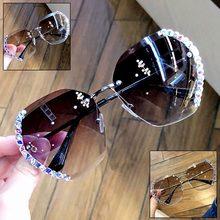 Luxo cristal strass sem aro óculos de sol feminino 2020 novo oversize claro óculos de sol moda proteção uv