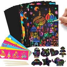 Magique arc-en-ciel couleur gratter Art papier carte ensemble avec Graffiti pochoir planche à dessin bâton bricolage Art peinture jouets éducatifs cadeau