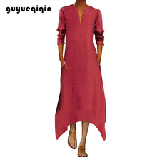 Guyueqiqin Midi Dress Fashion V-neck Slim Women Elegant Long-sleeve Solid Color