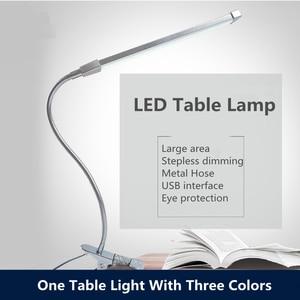 Image 1 - Настольные лампы на длинной ножке, 80 светодиодов, 8 Вт, светодиодная настольная лампа для чтения, Офисная Настольная лампа с защитой глаз, складной диммер с питанием от USB, 10 уровней зажима