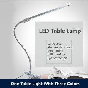 Image 1 - 80 LED 8W długie ramię lampy stołowe LED na biurko czytaj lampa stół biurowy ochrona oczu światło USB zasilany składany ściemniacz 10 poziomów zacisk