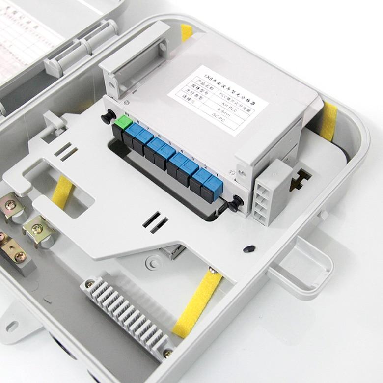 10PCS/ Lot SC UPC 1X8 Splitter Fiber Optical Box FTTH PLC Splitter Box With 1X8 Planar Waveguide Type Optical Splitter