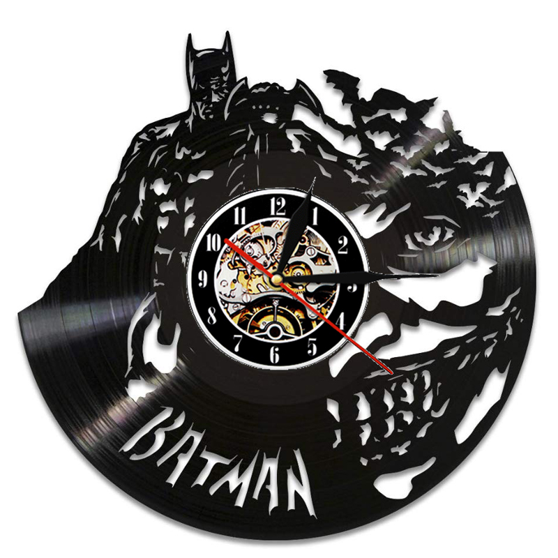 Batman Vinyl Record Wall Clock Modern Design Fashion Movie Theme Hanging Watch Vinyl Wall Clocks Home Decor Gifts For Men