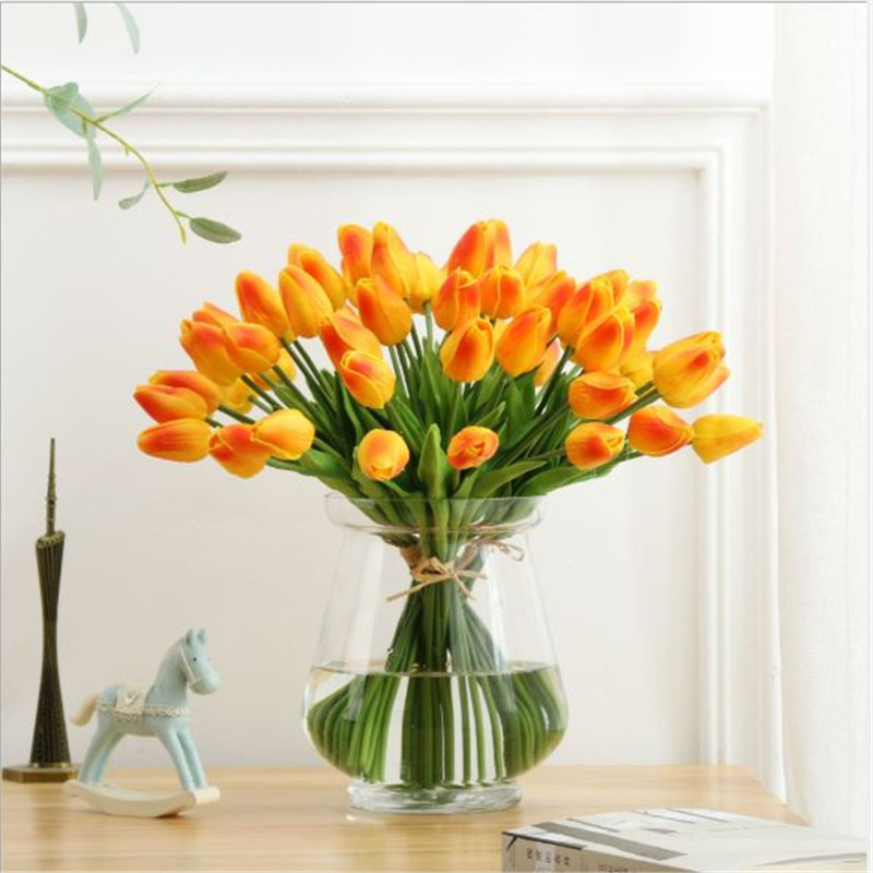 1PC PU Mini Tulips Artificial Flowers For Home And Wedding Decoration Flowers 58