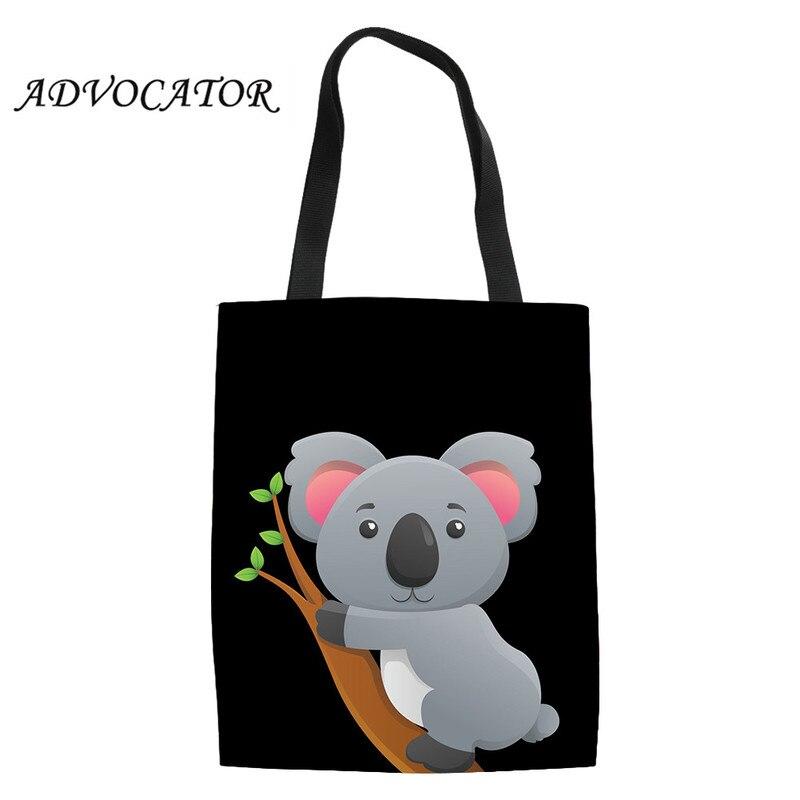 Women Shopping Tote Bag Cartoon Koala Print Shoulder Canvas Bags Causal Travel Storage Students Kids Book Bags Torba Na Zakupy